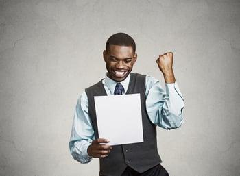 Closeup portrait happy excited young economic developer celebrating success