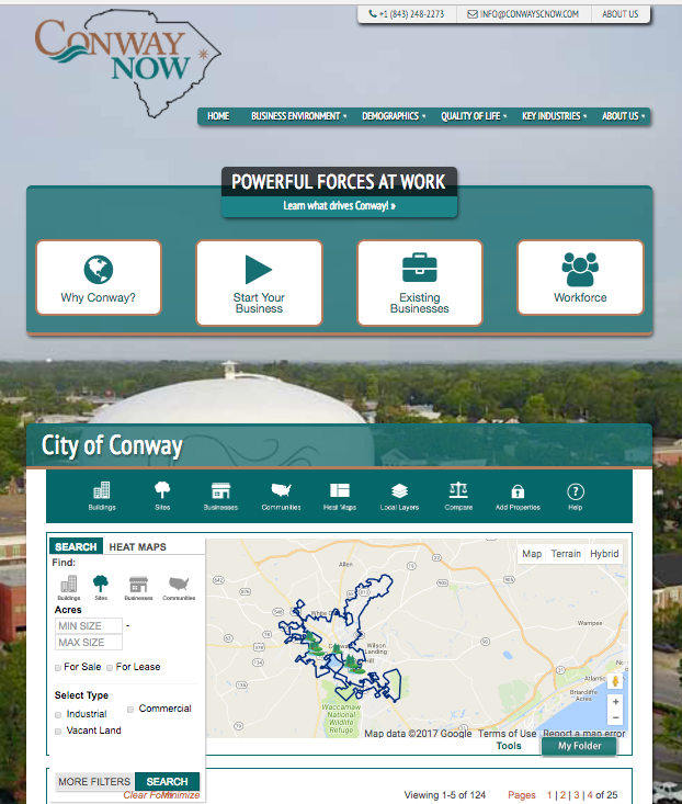 Conway South Carolina Economic Development website