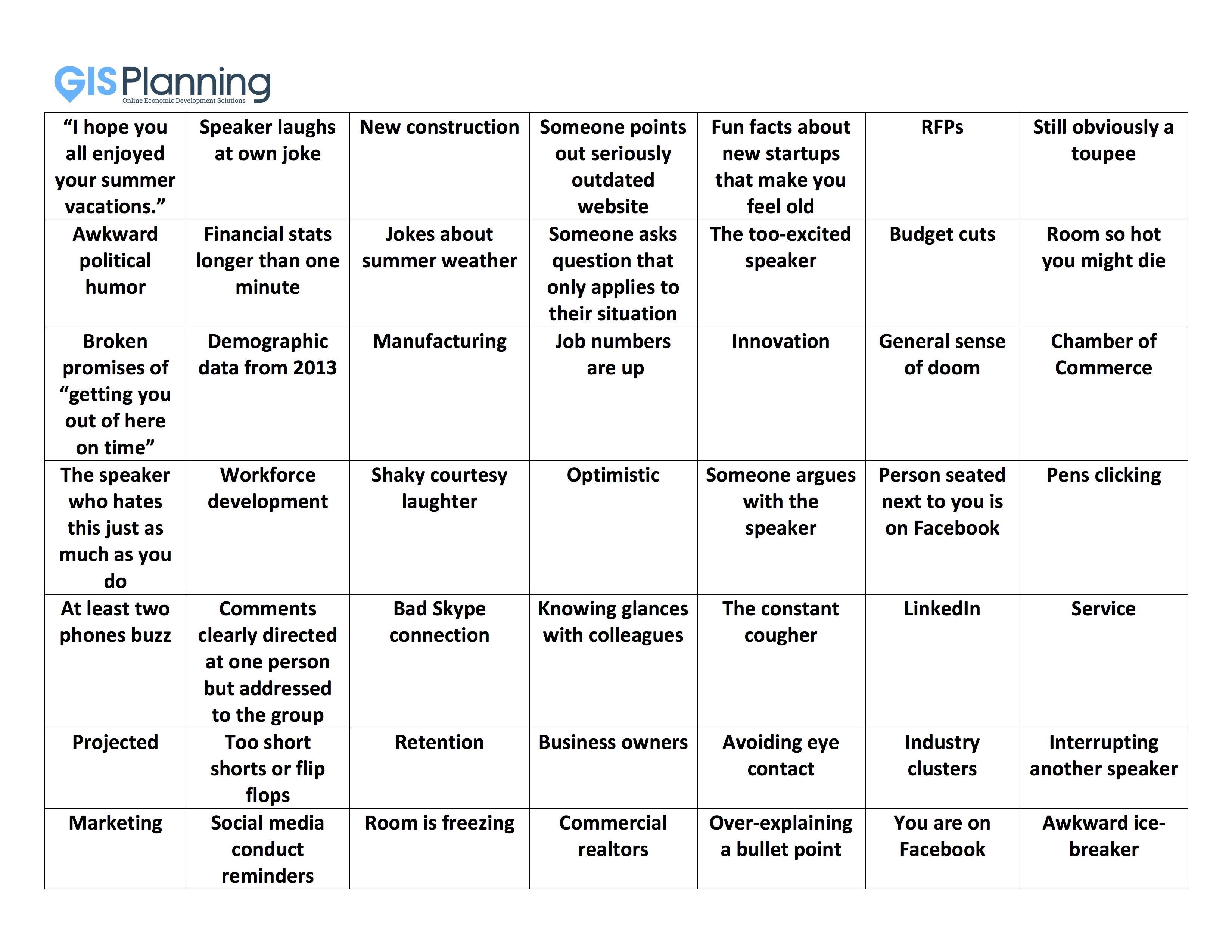 Economic Development bingo