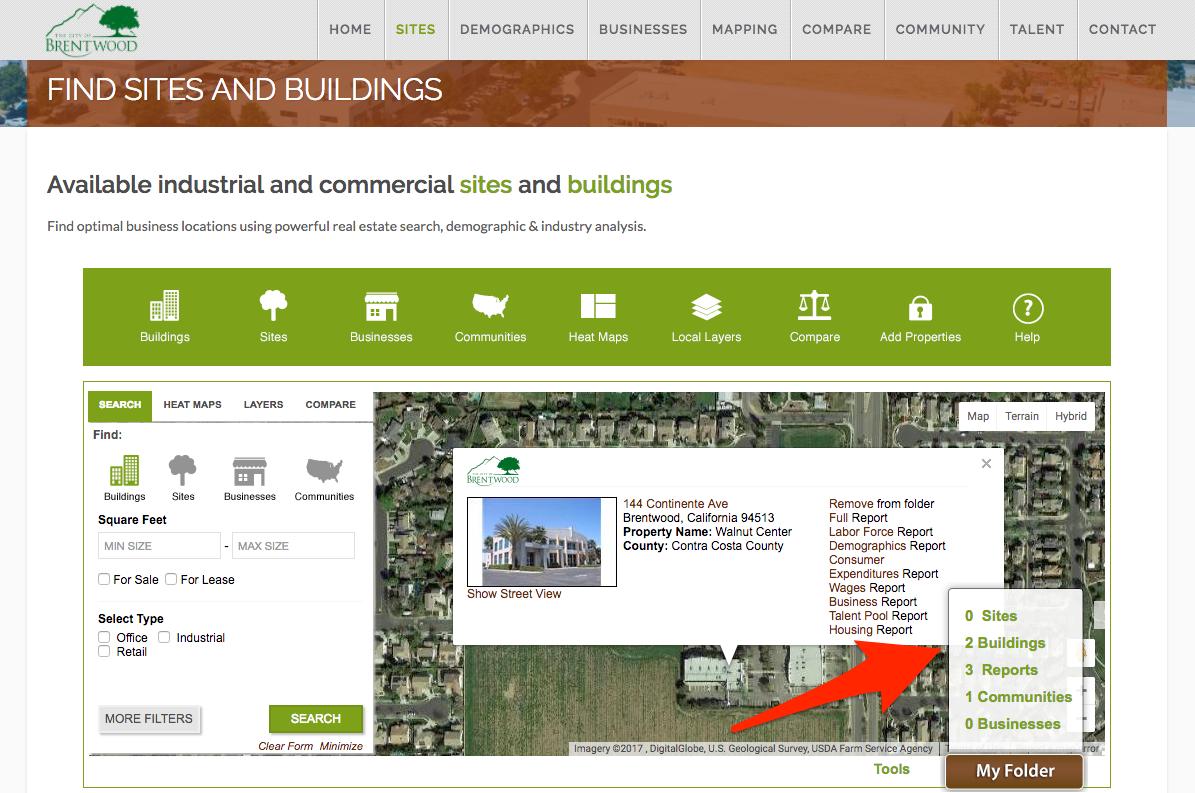 Save sites buildings to your folder on economic development website