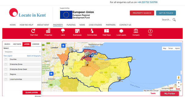 Locate in Kent GIS Planning data tool