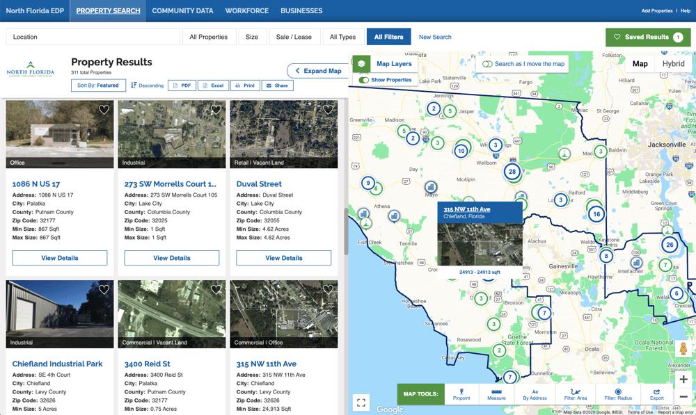 North Florida Economic Development Partnership online GIS data tool
