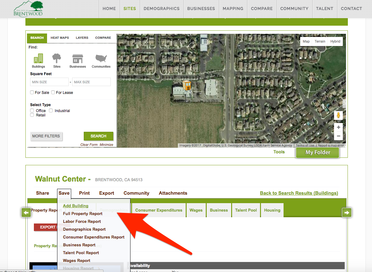 How to save a site building property on GIS economic development website