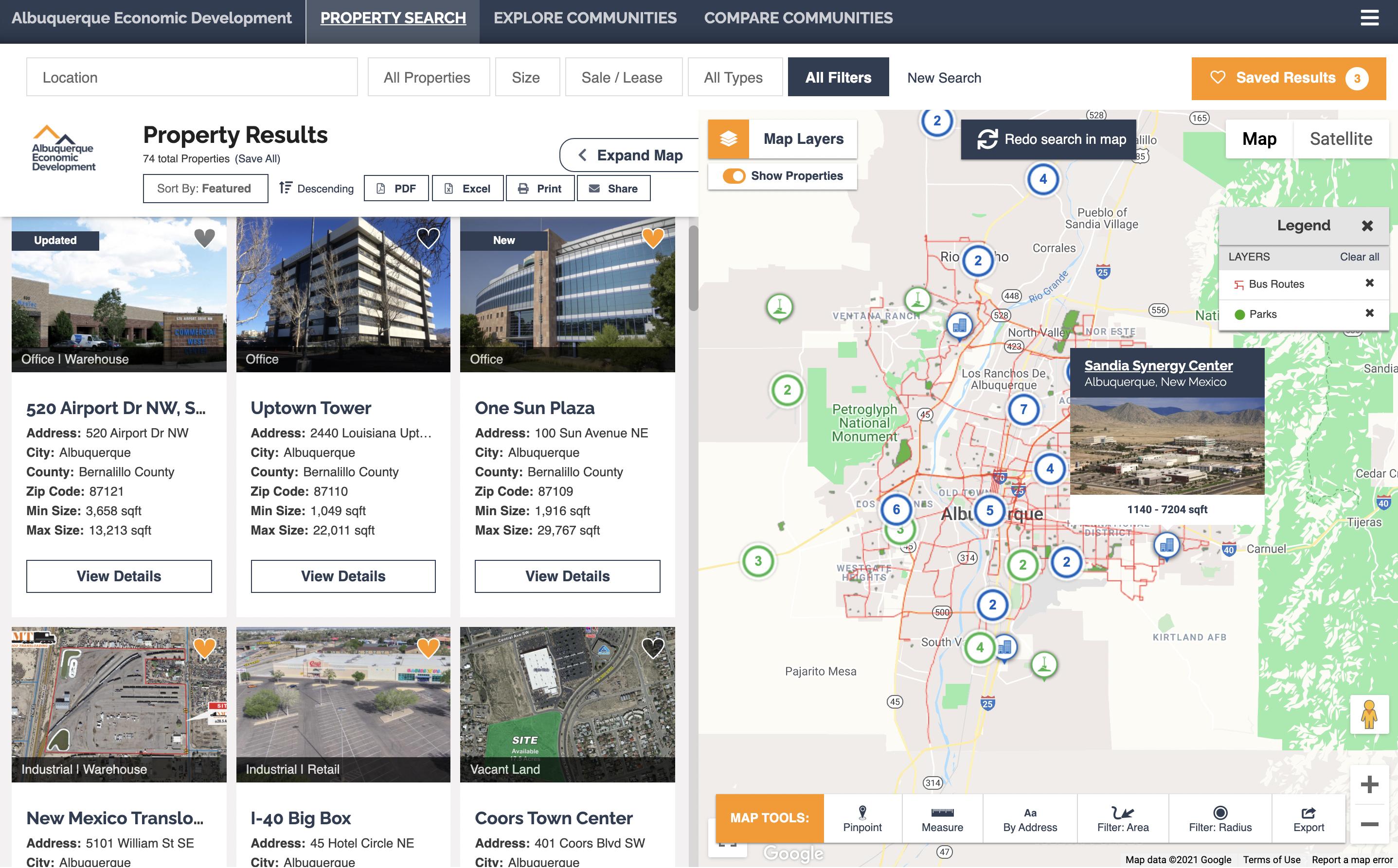 Albuquerque Economic Development New Mexico GIS data tool