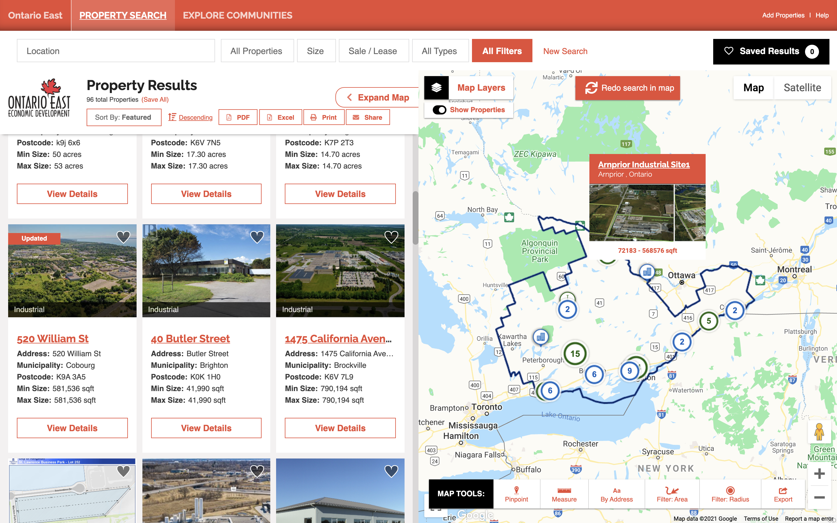 Ontario East site selection web tool