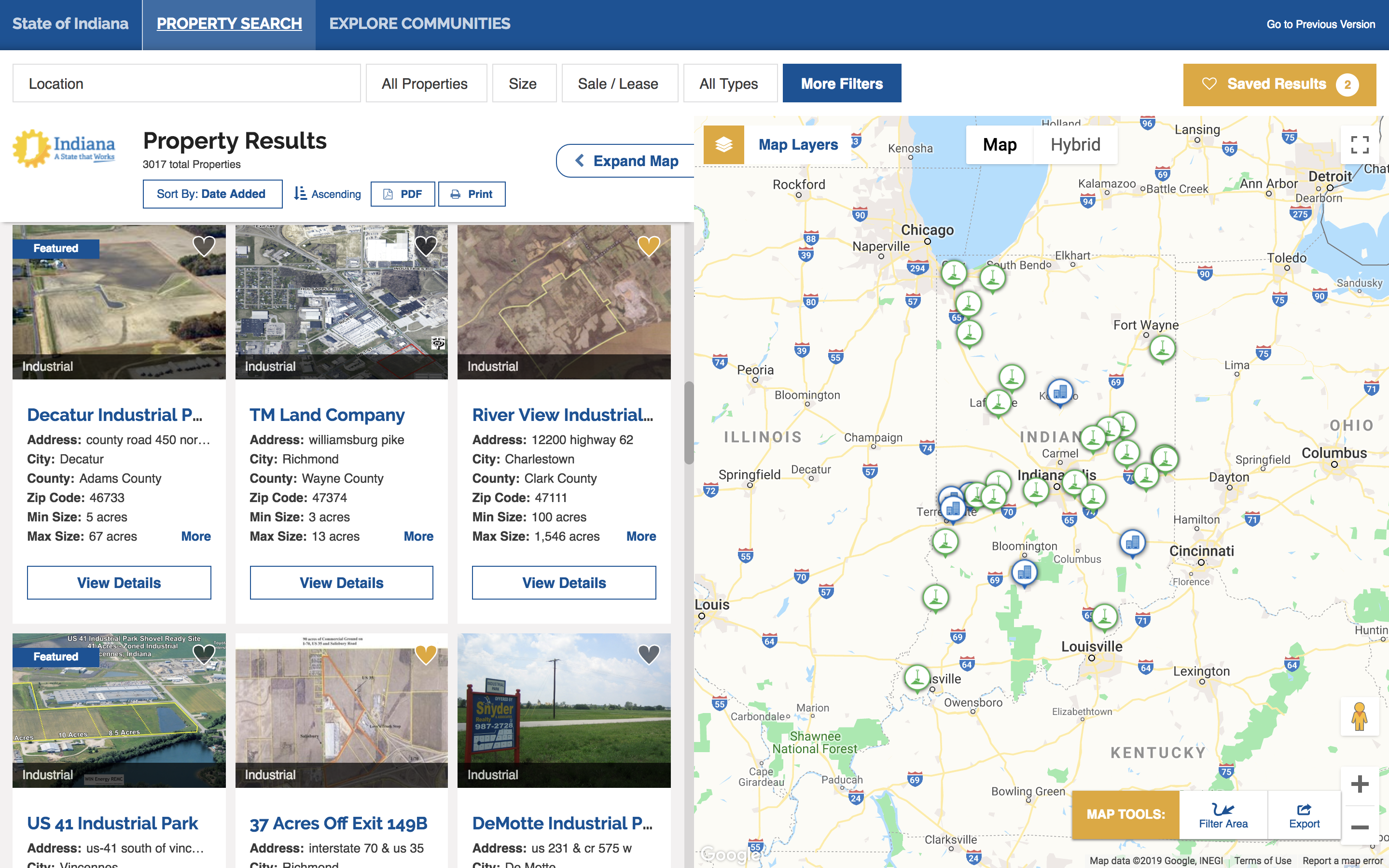 Indiana Economic Development GIS data tool