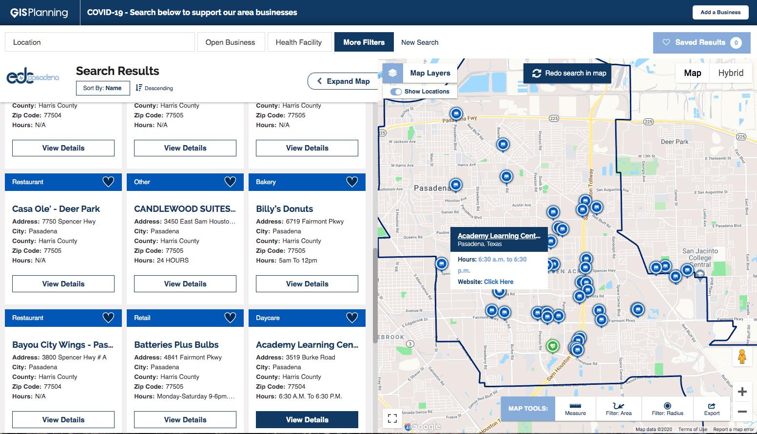 COVID-19 Businesses Open Map Pasadena Texas