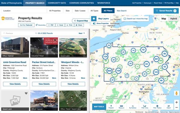 Pennsylvania GIS data tool site selection