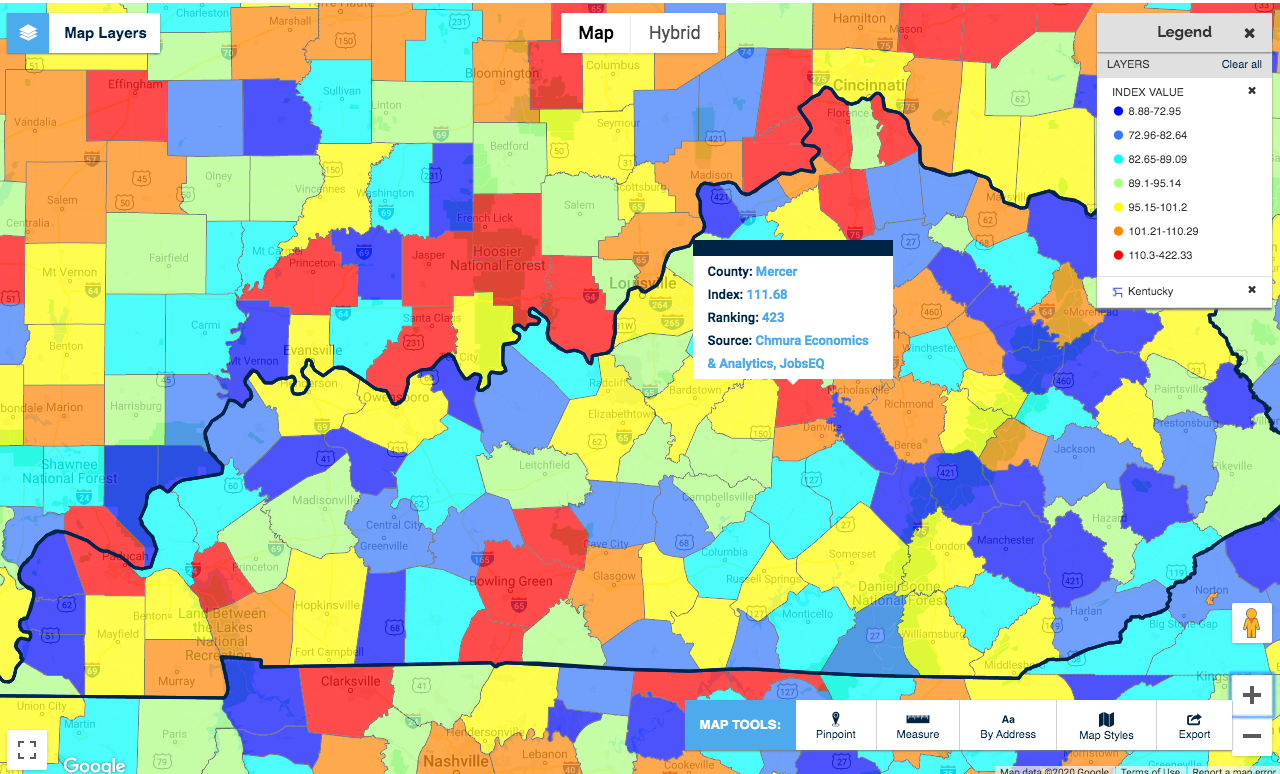 Map Kentucky COVID-19 economist vulnerability index chmura