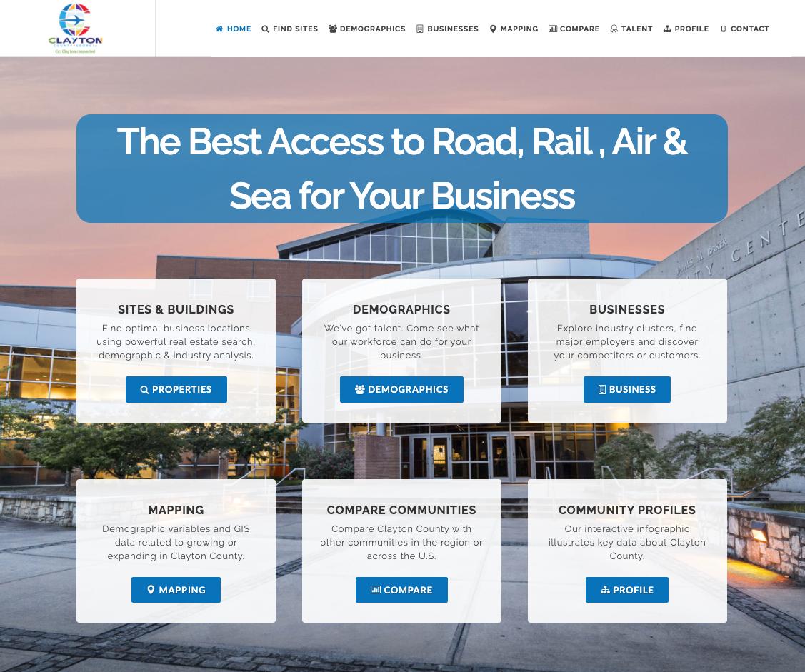 Clayton County Georgia GIS data tool property database economic development