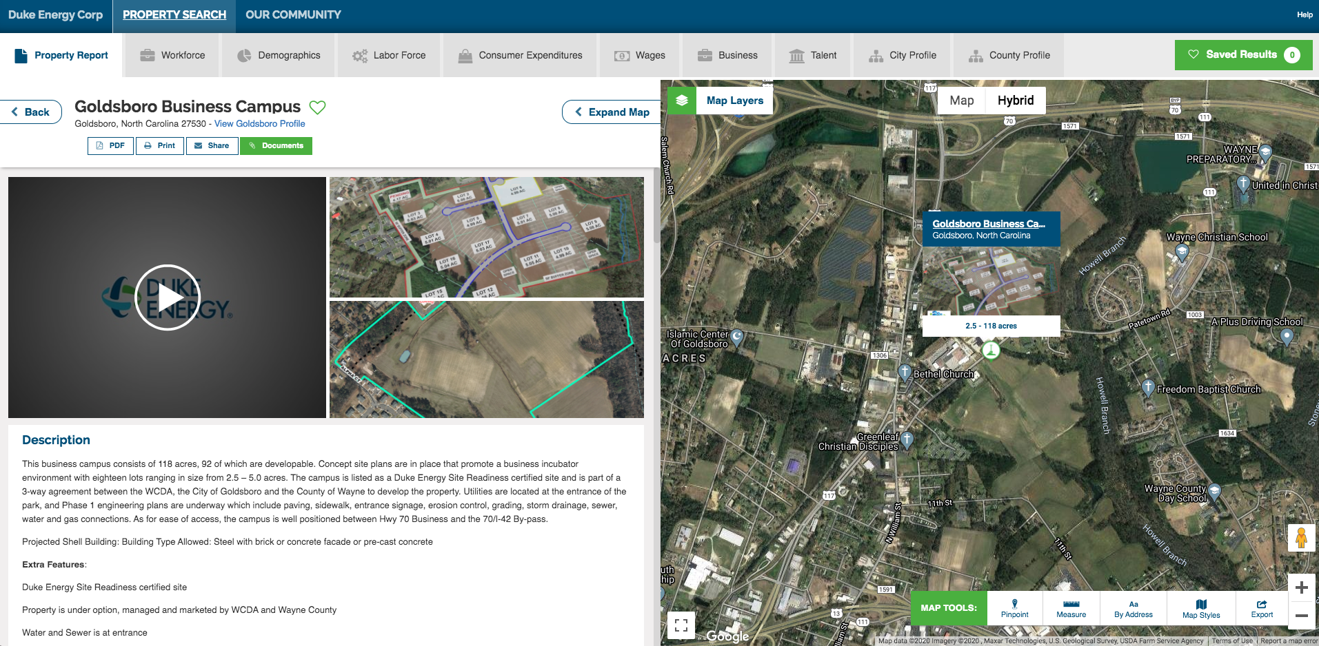 Add video for virtual site visits to GIS data tools for economic development