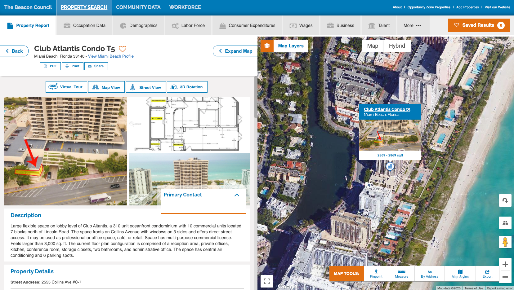 Corporate site selection GIS property report Miami
