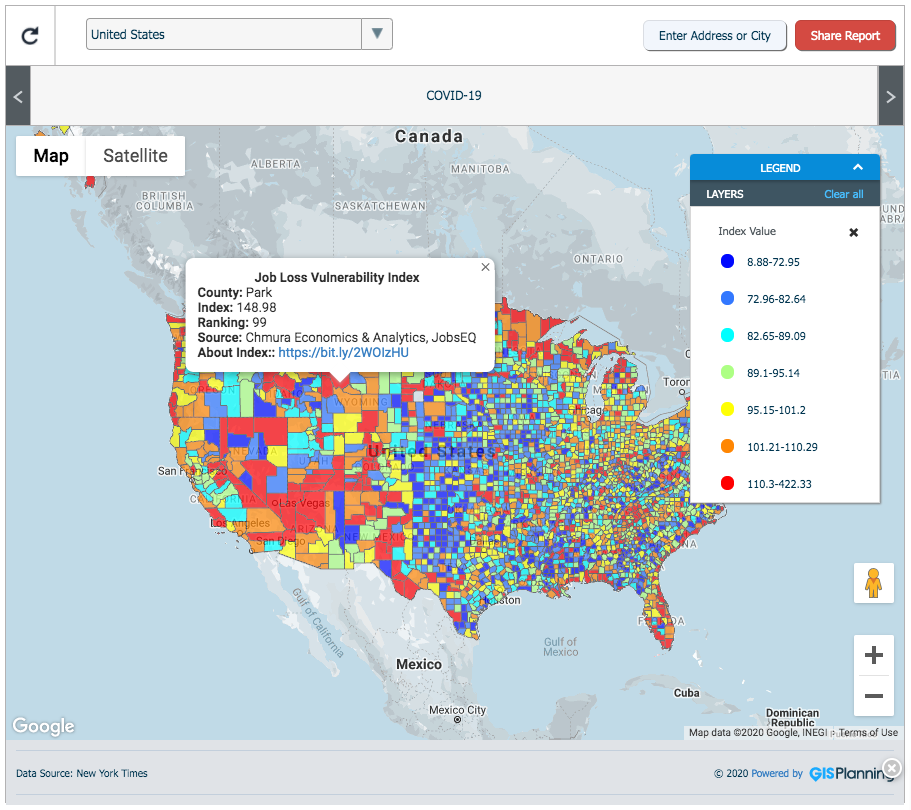 Economic development GIS data tool map COVID-19 job loss
