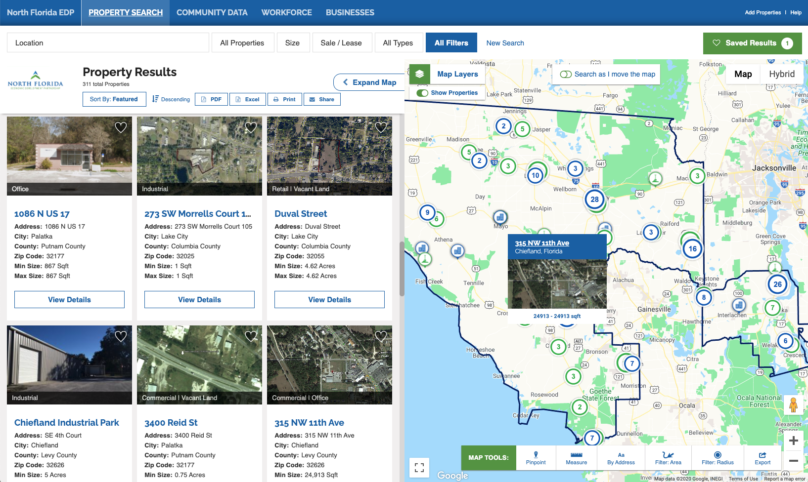 North Florida Economic Development Partnership online GIS data tool for site selection