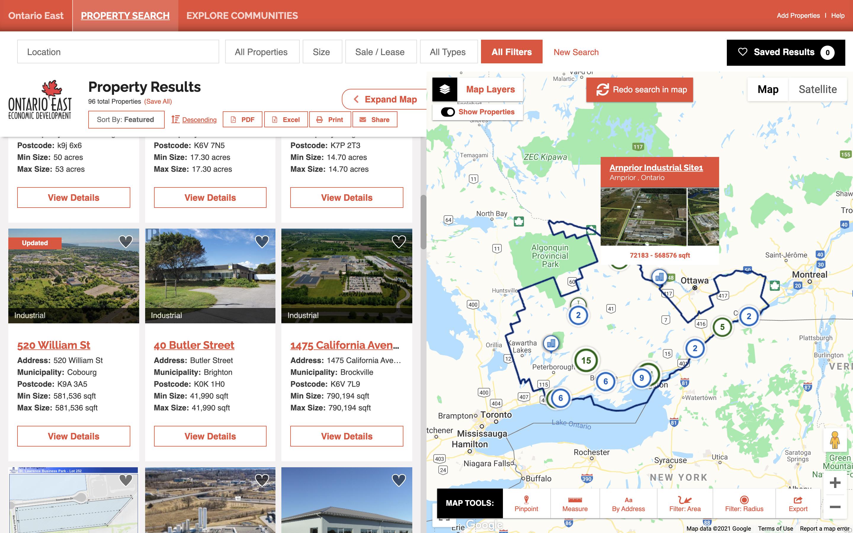 Ontario East economic development site selection data tool