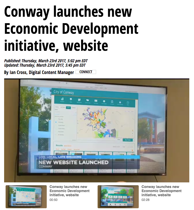 TV news Conway launches Economic Developmentwebsite jobs